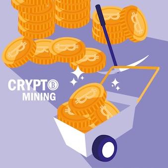 Ícones de bitcoin de mineração de criptografia