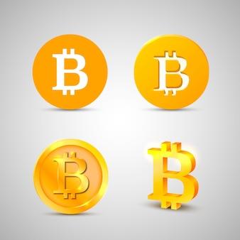 Ícones de bitcoin em fundo branco. ilustração vetorial