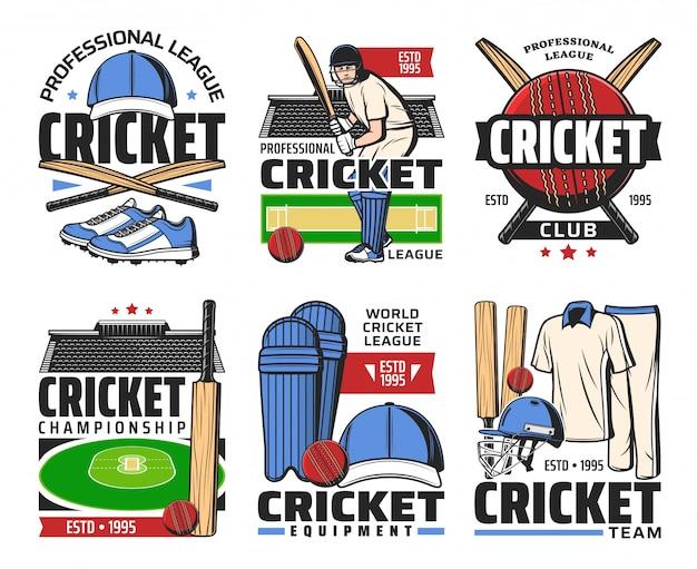 Ícones de bola, taco, estádio e jogador de esporte de críquete