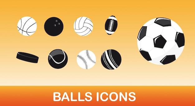 Ícones de bolas preto e branco sobre vetor de fundo laranja