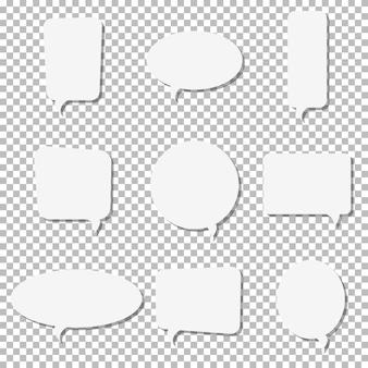 Ícones de bolha do discurso de papel branco