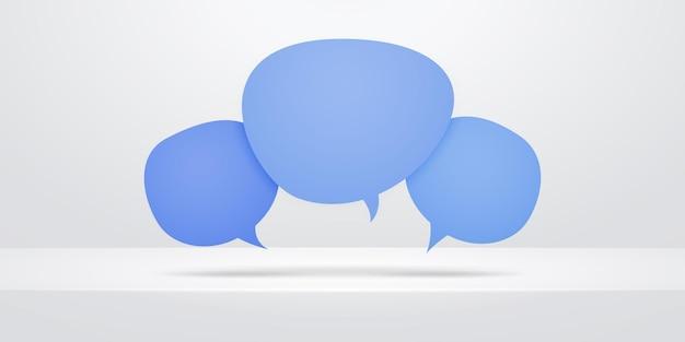 Ícones de bolha do discurso sobre a prateleira abstrata branca. projeto