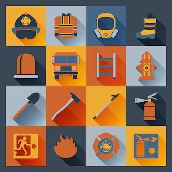 Ícones de bombeiro plana