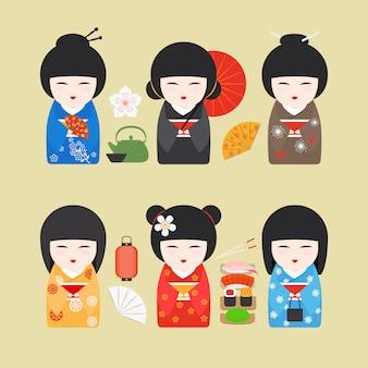 Ícones de bonecos do japão