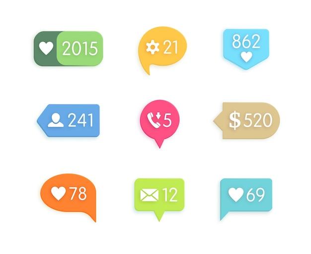 Ícones de botão de gosto e informações com contador.