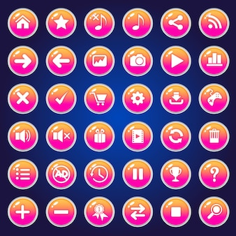 Ícones de botões da gui definidos para interfaces de jogos cor de rosa.