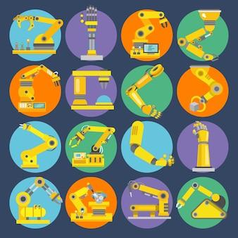 Ícones de braços robóticos planos