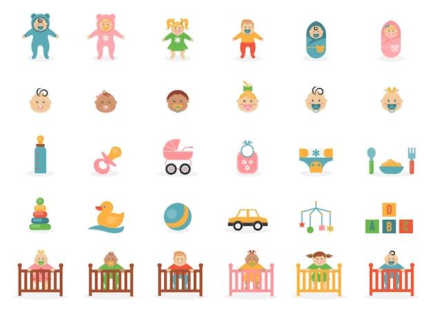 Ícones de brinquedos de bebês com o tema bebês e seus acessórios.