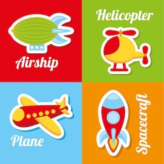 Ícones de brinquedos sobre ilustração vetorial de fundo colorido