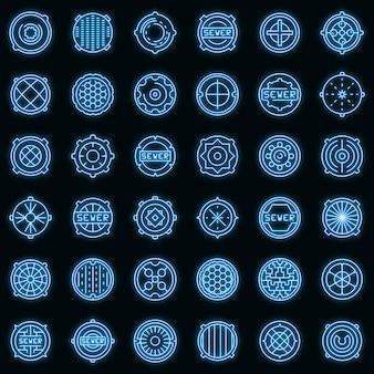 Ícones de bueiro definidos vetor neon