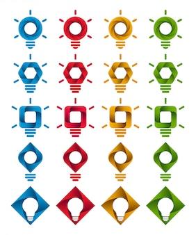 Ícones de bulbo de infográfico espiral