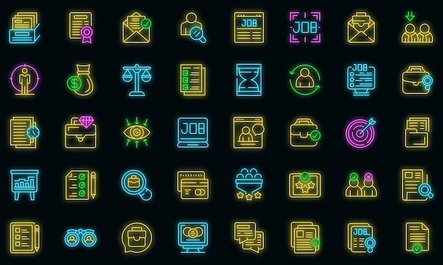 Ícones de busca de emprego definir vetor neon