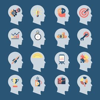 Ícones de cabeça de ideia