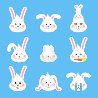 Ícones de cabeça de personagem de emoções de coelho.