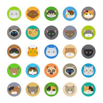 Ícones de cabeças de gato fofo