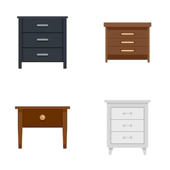 Ícones de cabeceira nightstand definir estilo simples