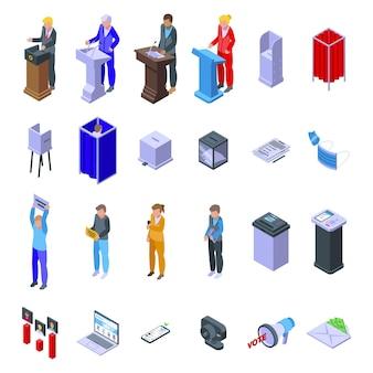 Ícones de cabine de votação definir vetor isométrico. urna eleitoral. campanha de escolha