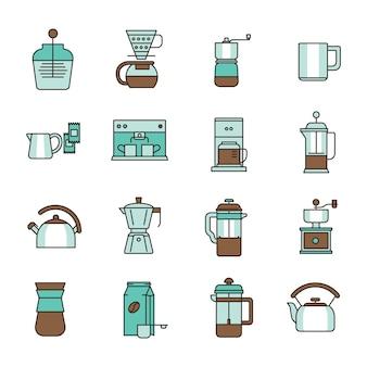 Ícones de café com fundo branco