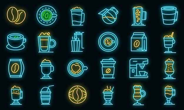 Ícones de café com leite definido vetor neon