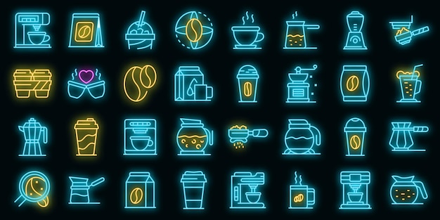 Ícones de café com néon de vetor