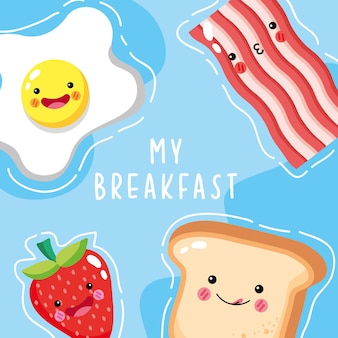 Ícones de café da manhã fofos e engraçados sorrindo
