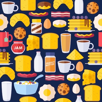 Ícones de café da manhã sem costura padrão colorido.
