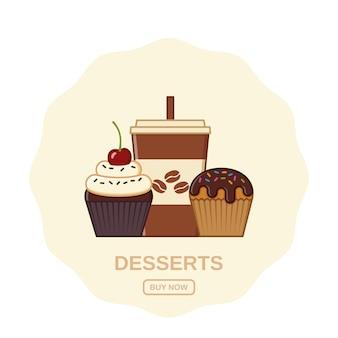 Ícones de café e cupcakes. ilustração.