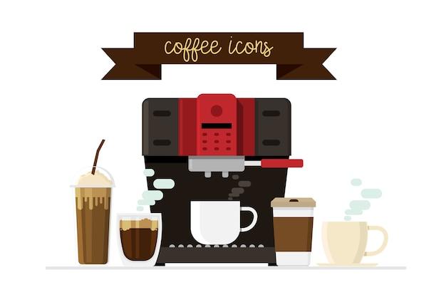 Ícones de café e máquina de café