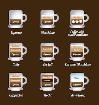 Ícones de café sobre ilustração vetorial de fundo marrom