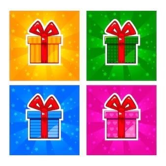 Ícones de caixa de presente multi-coloridas dos desenhos animados