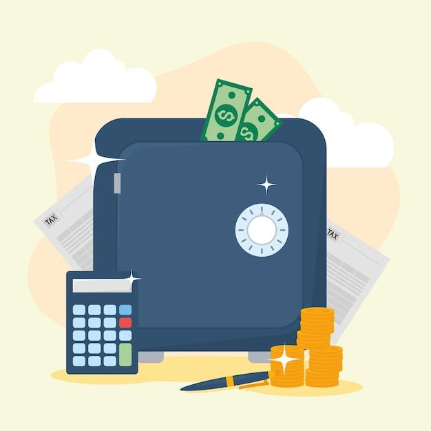 Ícones de caixa forte e contabilidade fiscal