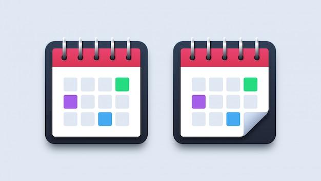Ícones de calendário de ilustração moderna