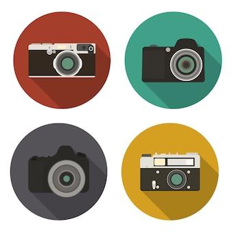 Ícones de câmera definidos em estilo simples com sombra longa. ilustração.