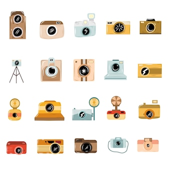 Ícones de câmera doodle desenhado à mão