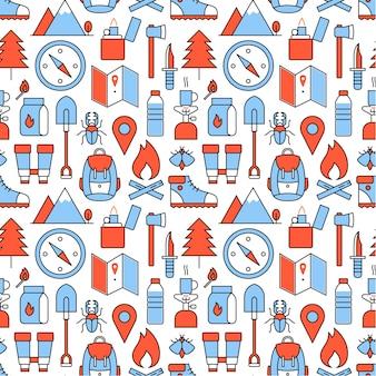 Ícones de caminhada de floresta e montanha quadrados