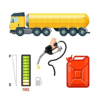 Ícones de caminhão de combustível, equipamentos de gasolina e suprimentos.