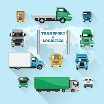 Ícones de caminhão plano