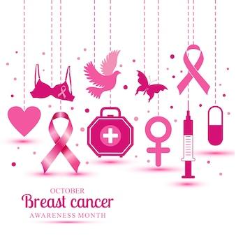 Ícones de câncer de mama para o mês de consciência de outubro.