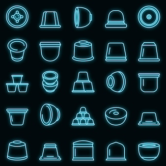 Ícones de cápsula de café com néon de vetor