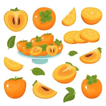 Ícones de caqui definem meias fatias de frutas inteiras com e sem sementes