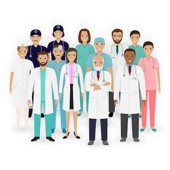Ícones de caracteres médicos, enfermeiros e paramédicos. grupo de equipe médica. equipe do hospital. bandeira de medicina.
