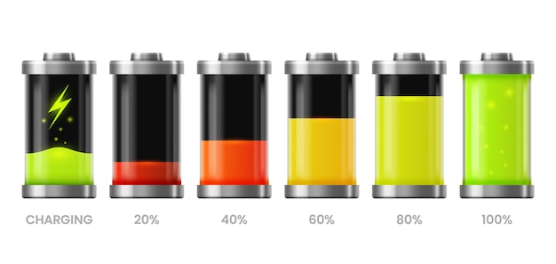 Ícones de carga da bateria, nível do carregador de energia, sinais de carga total e baixa recarga para celular.