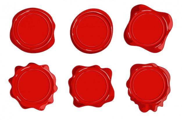 Ícones de carimbos de cera. vela decorativa selo selo conjunto isolado no branco. selos de cera retrô selo definido para certificado e documento.
