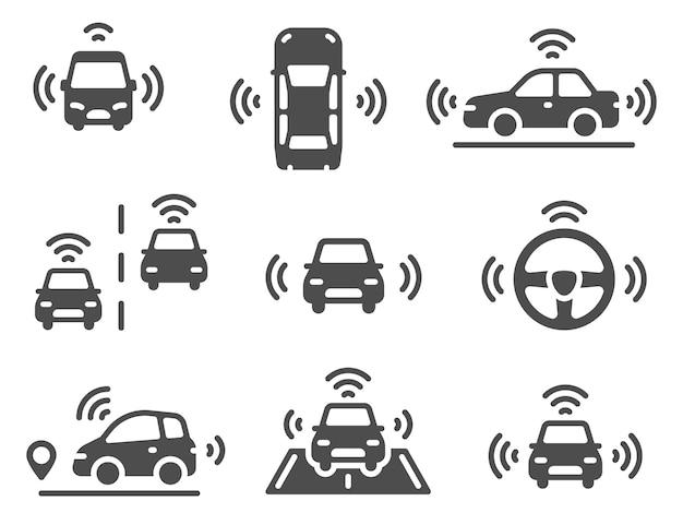 Ícones de carro sem motorista. carro robótico autônomo, veículos de direção inteligentes, estrada de linhas móveis de navegação, conjunto de vetores de automóveis elétricos de eco-tecnologia. ícones de distância inteligente de sensor autônomo