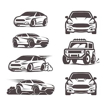 Ícones de carros ajustados ilustração em vetor esporte suv sedan 4x4