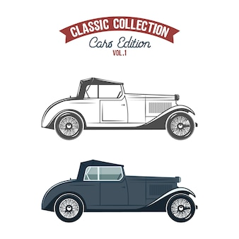 Ícones de carros retrô, cor lisa e estilo monocromático.
