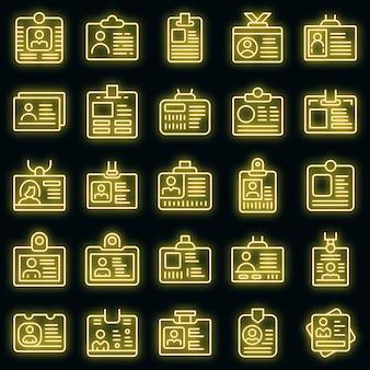 Ícones de cartão de identificação definidos vetor neon