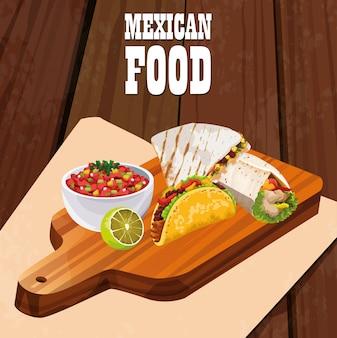 Ícones de cartaz de comida mexicana deliciosa