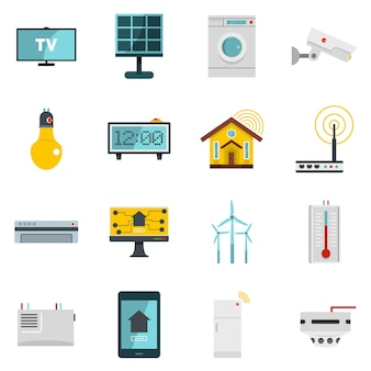 Ícones de casa inteligente em casa definido em estilo simples