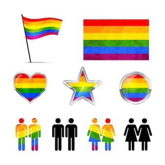 Ícones de casais gays isolados no branco
